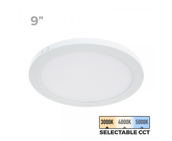 "9"" Selectable White LED Downlight w/ White Interchangeable Trim - 18W Flush Mount Ceiling Light - 1,440 Lumens - 100 Watt Equivalent - Dimmable"