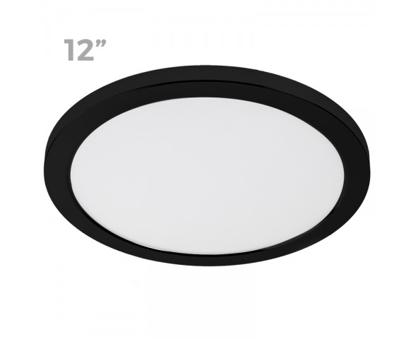 "12"" LED Downlight w/ Black Trim - 24W Flush Mount Ceiling Light - 1,920 Lumens - 125 Watt Equivalent - 4000K/3000K - Dimmable"