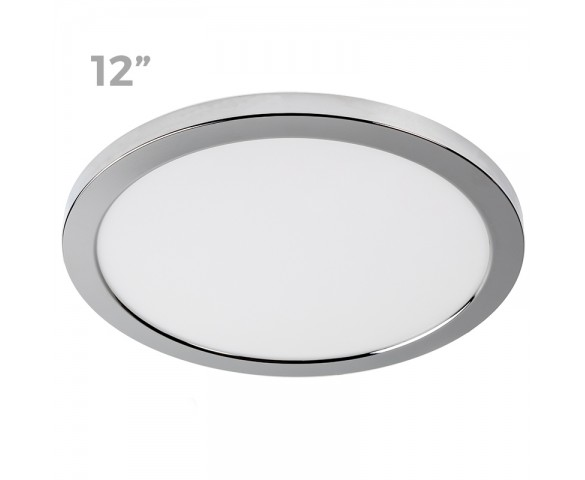 "12"" LED Downlight w/ Chrome Trim - 24W Flush Mount Ceiling Light - 1,920 Lumens - 125 Watt Equivalent - 4000K/3000K - Dimmable"