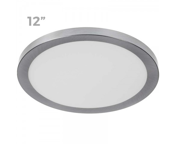 "12"" LED Downlight w/ Satin Nickel Trim - 24W Flush Mount Ceiling Light - 1,920 Lumens - 125 Watt Equivalent - 4000K/3000K - Dimmable"