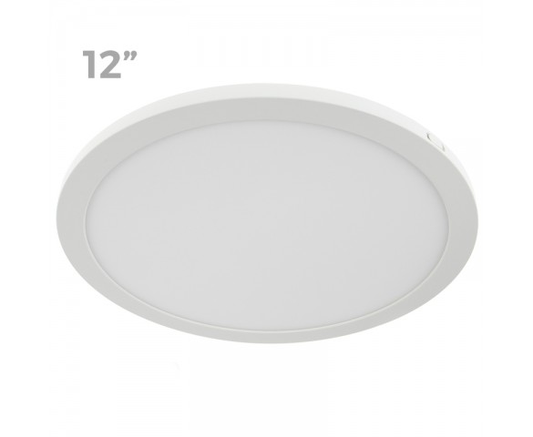 "12"" LED Downlight w/ White Interchangeable Trim - 24W Flush Mount Ceiling Light - 1,920 Lumens - 125 Watt Equivalent - 4000K/3000K - Dimmable"