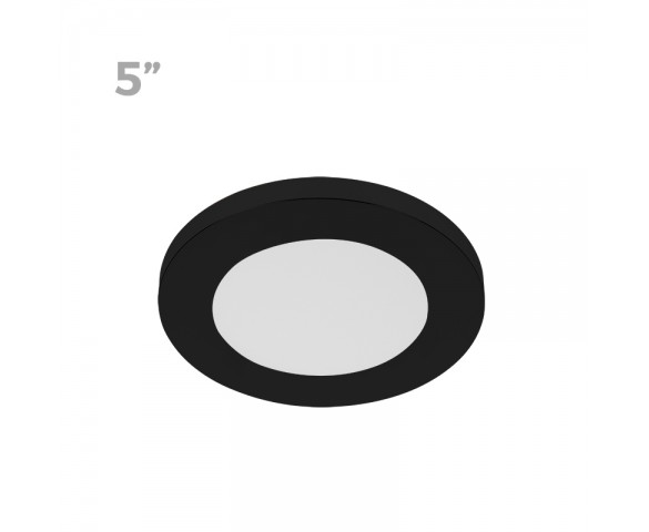 "5"" LED Downlight w/ Black Trim - 6W Flush Mount Ceiling Light - 360 Lumens - 50 Watt Equivalent - 4000K/3000K - Dimmable"