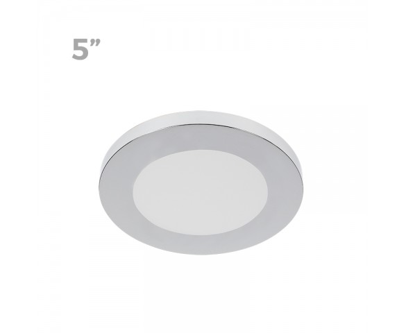 "5"" LED Downlight w/ Chrome Trim - 6W Flush Mount Ceiling Light - 360 Lumens - 50 Watt Equivalent - 4000K/3000K - Dimmable"