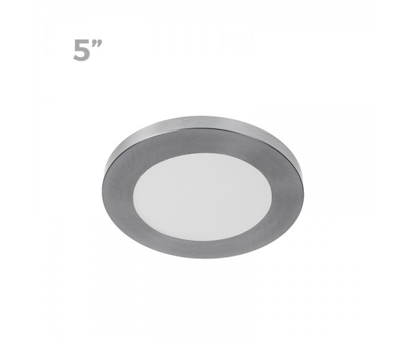 "5"" LED Downlight w/ Satin Nickel Trim - 6W Flush Mount Ceiling Light - 360 Lumens - 50 Watt Equivalent - 4000K/3000K - Dimmable"