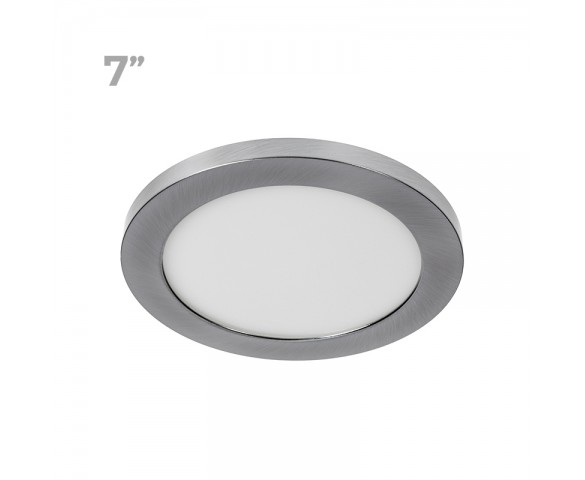 "7"" LED Downlight w/ Brushed Nickel Trim - 12W Flush Mount Ceiling Light - 960 Lumens - 75 Watt Equivalent - 4000K/3000K - Dimmable"