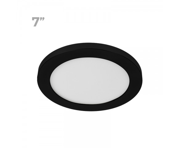 "7"" LED Downlight w/ Black Trim - 12W Flush Mount Ceiling Light - 960 Lumens - 75 Watt Equivalent - 4000K/3000K - Dimmable"