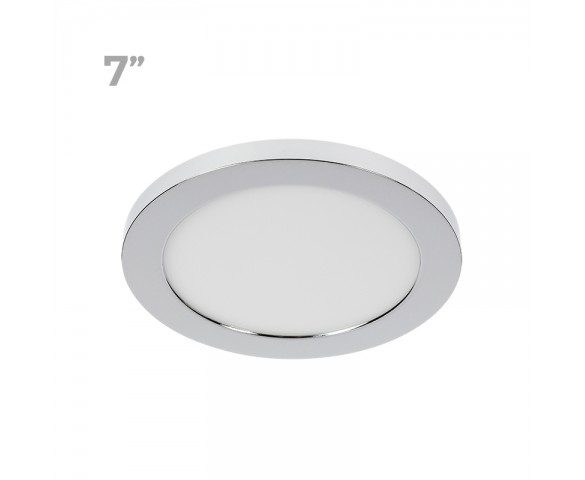 "7"" LED Downlight w/ Chrome Trim - 12W Flush Mount Ceiling Light - 960 Lumens - 75 Watt Equivalent - 4000K/3000K - Dimmable"