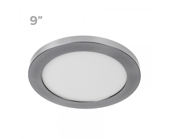 "9"" LED Downlight w/ Brushed Nickel Trim - 18W Flush Mount Ceiling Light - 1,440 Lumens - 100 Watt Equivalent - 4000K/3000K - Dimmable"