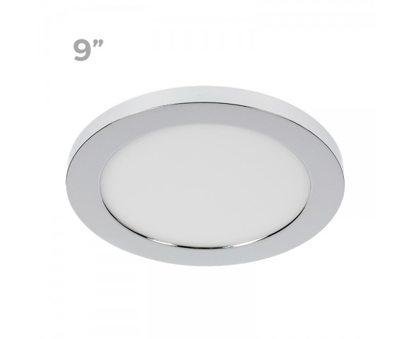 "9"" LED Downlight w/ Chrome Trim - 18W Flush Mount Ceiling Light - 1,440 Lumens - 100 Watt Equivalent - 4000K/3000K - Dimmable"