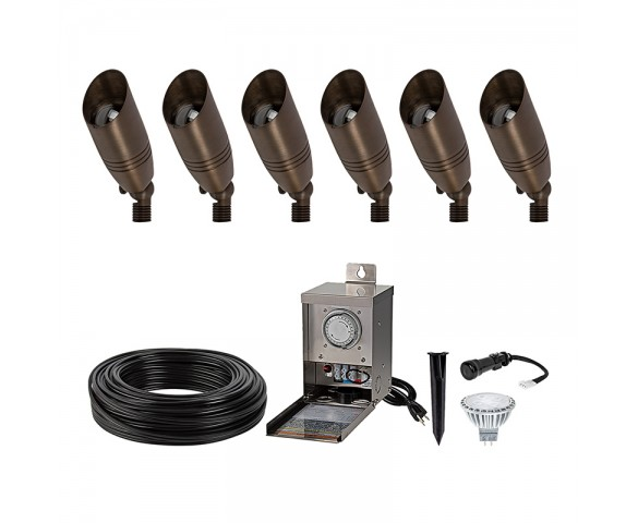 LED Landscape Lighting Kit - (6) LED Ready Spotlights - 5W MR16 Bulbs - Pro Grade Low Voltage Transformer