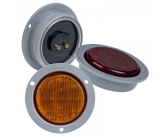 "Round LED Truck Trailer Light with Built In Flange - 2-1/2"" LED Marker Clearance Light with 13 LEDs: Available In Red, Amber, & White"