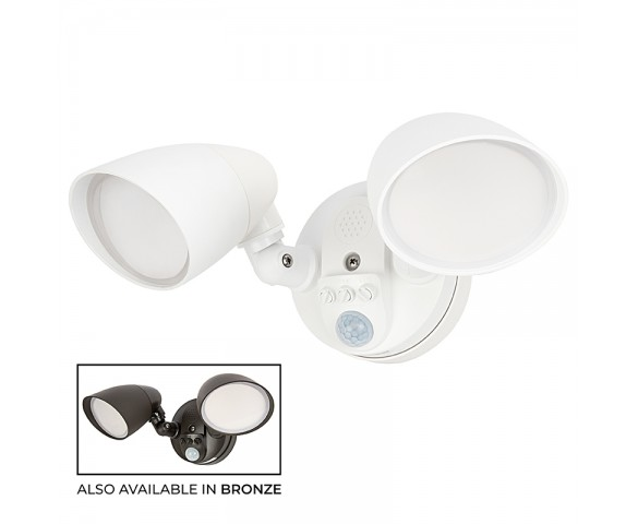 20W Integrated LED Motion Sensor Light - 1,800 Lumens - Adjustable 2 Head Security Light - 4000K