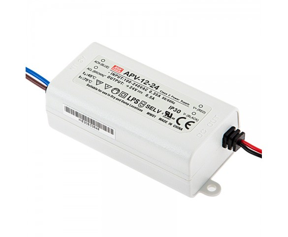 Mean Well LED Power Supply - AP series 12W Single Output LED Power Supply - 24V DC: