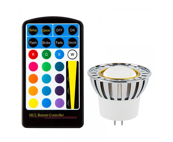 Color-Changing MR16 LED Bulb w/ Remote - 10 Watt Equivalent - RGB LED Spotlight Bulb
