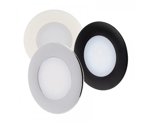 "2.5"" Recessed LED Downlight - Puck Courtesy Light Fixture - 90 Lumens - 2700K/4000K/5700K - Matte Black/Matte White/Chrome"