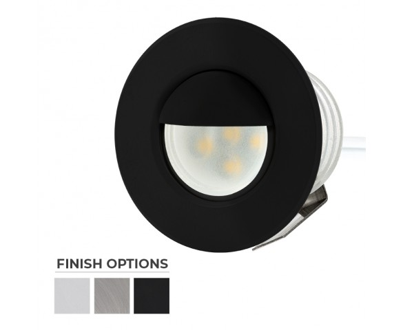 Round Metal with Hood - 0.5 Watt Mini LED Step Lights - 4200/2600K