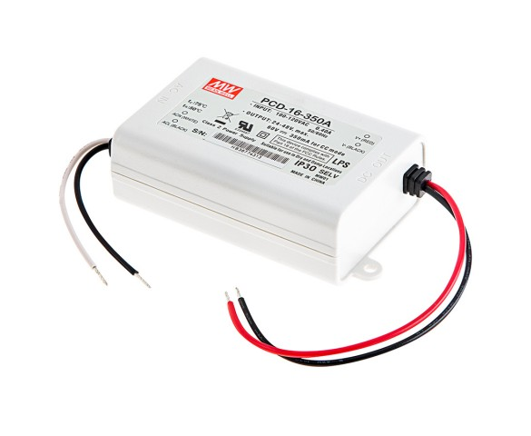 MEAN WELL Constant Current LED Driver - PCD-16 Series - 350mA - 24-48 VDC