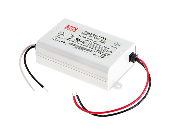 MEAN WELL Constant Current LED Driver - PCD-16 Series - 700mA - 16-24 VDC