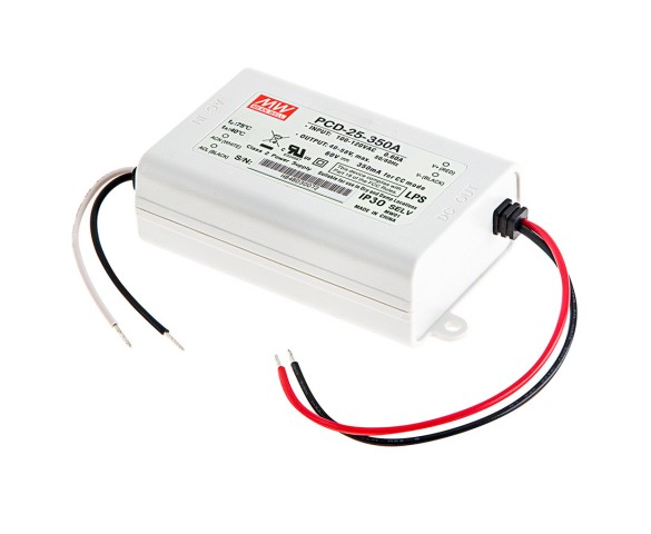 Mean Well LED Switching Power Supply - PCD Series AC Dimmable LED Constant Current Driver - A-Type - 350mA - 40-58 VDC