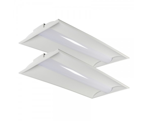 2x4 Recessed LED Troffer Light - 50W - 5,900 Lumens - Dimmable - 4000K - 2 Pack