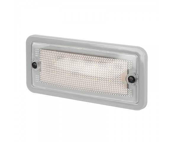 "5.75"" Rectangular LED Dome Light Fixture w/ Gray Housing - 30 Watt Equivalent - 275 Lumens"