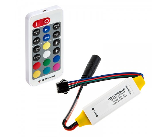 RGB LED Controller w/ LC4 Connector - Wireless RF Remote w/ Dynamic Color-Changing Modes - 5 Amps/Channel