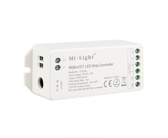 MiLight RGB+CCT LED Controller - Color-Changing/Tunable White - WiFi/Smartphone Compatible - 6 Amps/Channel