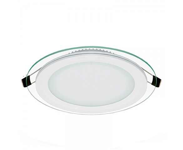 "6"" Round LED Panel Light with Edge Lit Glass Accent Light - 75 Watt Equivalent - 730 Lumens"