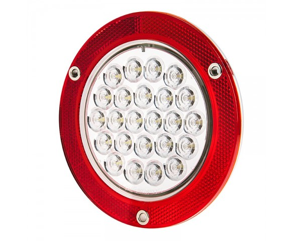 Round Led Truck And Trailer Lights W Reflectorized Flange 5 1 2 Led Brake Turn Backup Tail Lights 3 Pin Connector Flush Mount 24 Leds