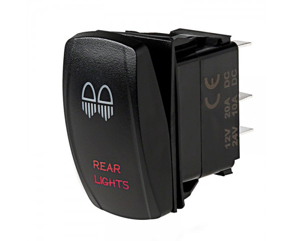 LED Rocker Switch with Legend - Rear Lights Switch: Optional Legend Illumination
