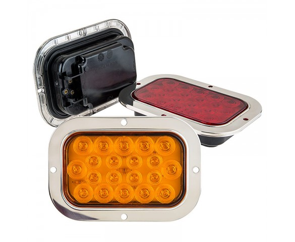 Rectangle Led Truck And Trailer Lights W Built In Stainless Steel Flange 6 Led Brake Turn Tail Lights 3 Pin Connector Flush Mount 20 Leds