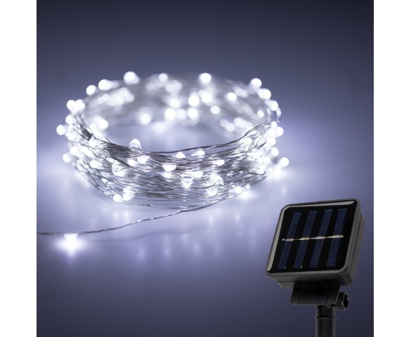 Solar Powered LED Fairy Lights w/ Silver Wire - 32'