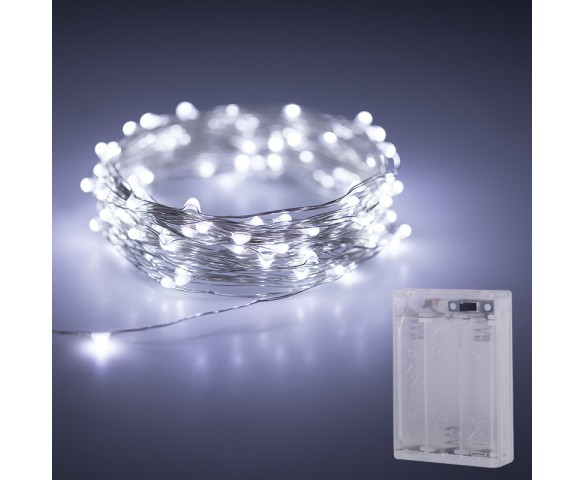 Battery Powered LED Fairy Lights w/ Silver Wire - 32.8ft