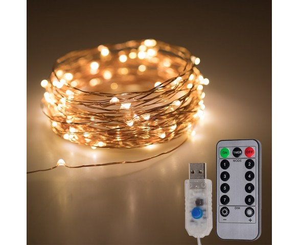 USB LED Fairy Lights w/ Remote Control - Copper Wire - 32'