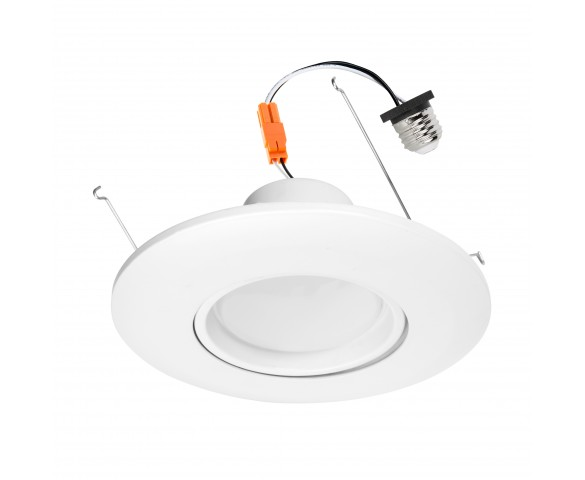 "LED Recessed Lighting Kit for 5"" to 6"" Cans - Retrofit LED Downlight w/ Gimbal Trim - 75 Watt Equivalent - Dimmable - 1000 Lumens"