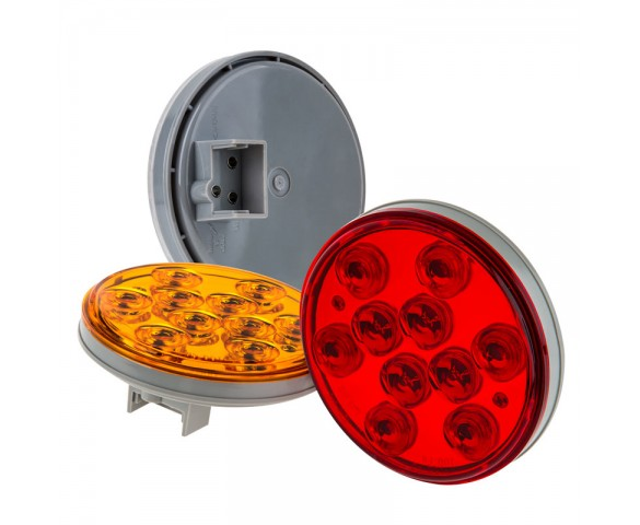 "Round LED Truck Trailer Lights - 4"" LED Stop Turn Tail Light w/ 10 High Flux LEDs"