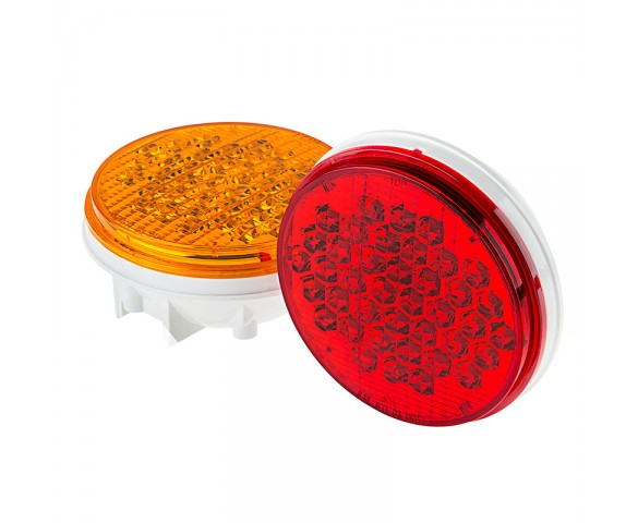 "Round LED Truck Trailer Light with Reflector - 4"" LED Stop Turn Tail Light with 40 LEDs"