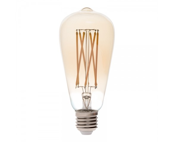ST26/ST64 LED Filament Bulb - Gold Tint Vintage Light Bulb - 65 Watt Equivalent - Dimmable - 650 Lumens
