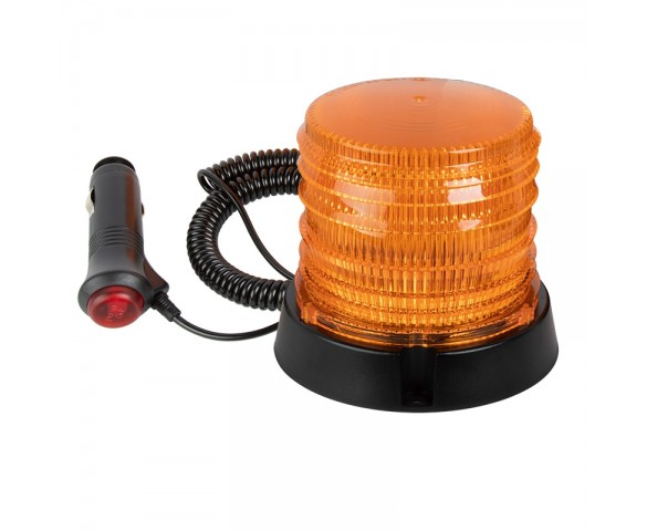 "4-1/2"" Amber LED Strobe Light Beacon - Magnetic Surface Mount - 12V Plug"