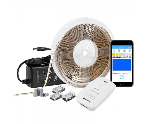 Tunable White LED Strip Light Kit - White LED Tape Light - 5m - Bluetooth Smartphone App Controlled