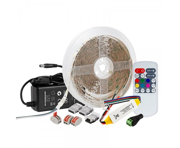 RGBW LED Strip Kit - Color Changing + White LED Tape Light - 5m - Wireless RF Remote