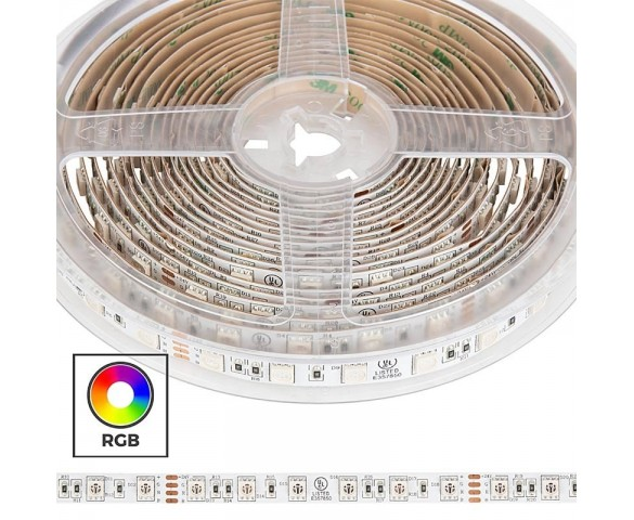 5050 RGB LED Strip Light - Custom Length Tape Light - 24V - IP20 - 18 LEDs/ft