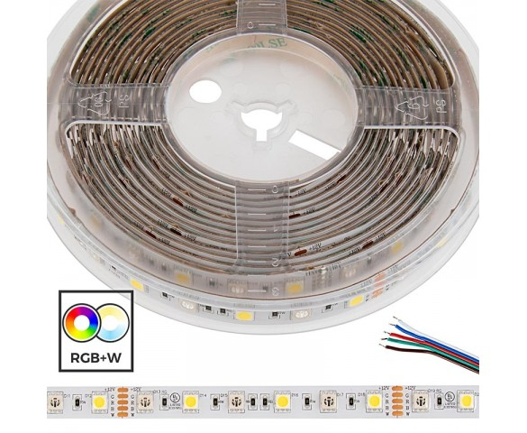 5m 5050 RGB+W LED Strip Light - Color Changing + White LED Tape Light - High Density - 24V - IP54