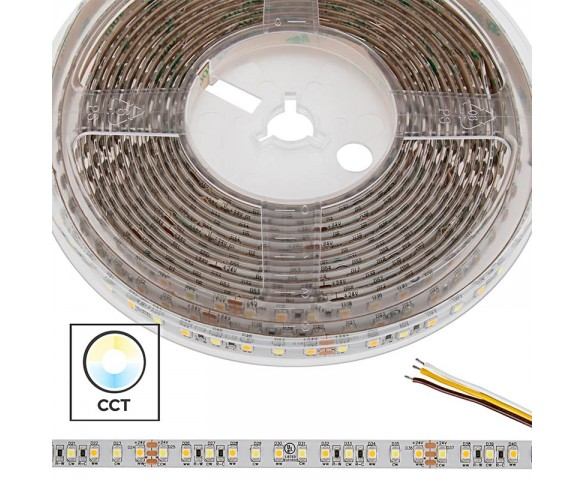 5m 5050 Tunable White LED Strip Light - High Density LED Tape Light - 24V - IP54