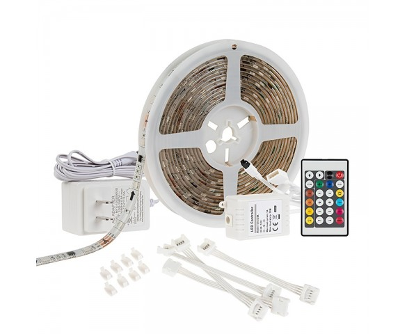 Outdoor RGB LED Strip Light Kit - Color Chasing 12V LED Tape Light - Weatherproof - 16 Lumens/ft.