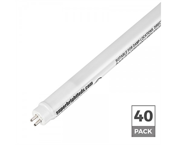 27W T5HO LED Tube - 3,200 Lumens - F54T5HO Equivalent – Dual-End Ballast Compatible Type A - 40 Pack