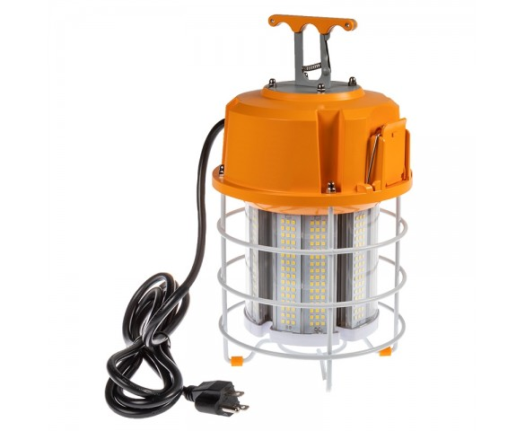 60W Temporary Work Light with Power Cord and Built In Latch - 250W Equivalent - 7500 Lumens - 5000K