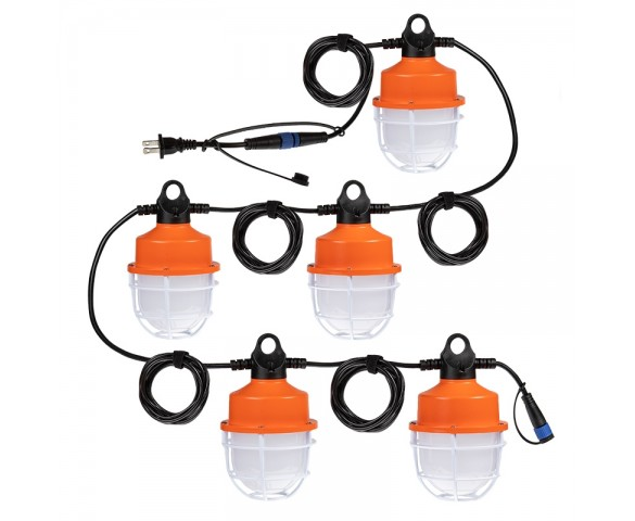 100W LED Temporary Hanging String Light  - 55' Run - Linkable - 12500 Lumens - 5000K