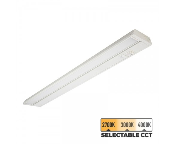 "24"" Under Cabinet LED Lighting Fixture with Selectable Color Temperature Switch - 825 Lumens - 4000K/3000K/2700K"