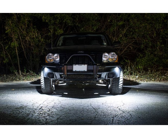 Waterproof LED Underglow Light -LED Light Modules: Shown Installed On Jeep And On In White.